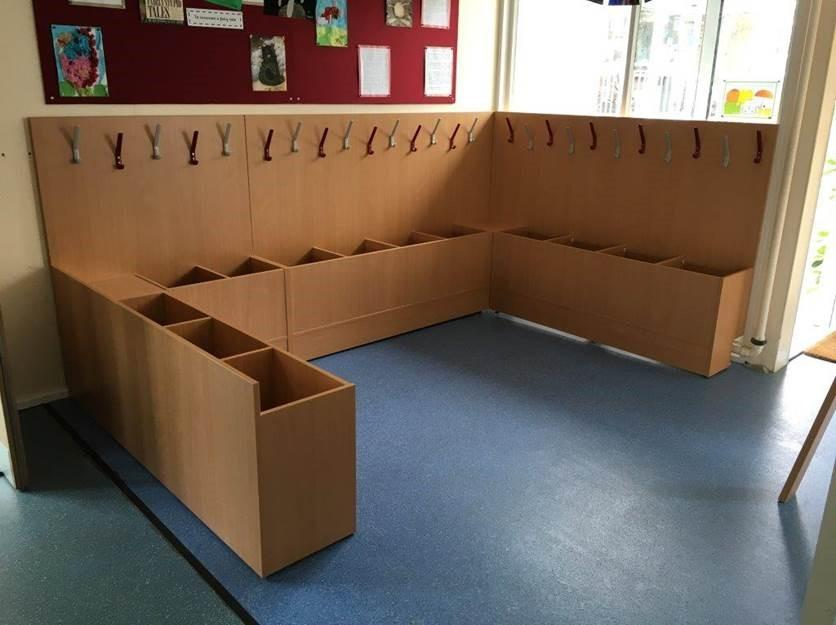 Coat and bag storage for schools