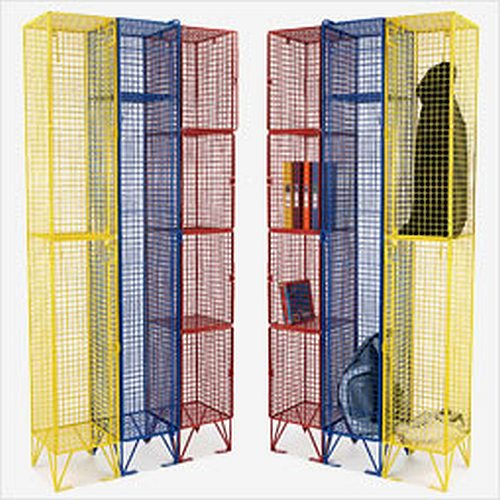 Colourful wire mesh lockers