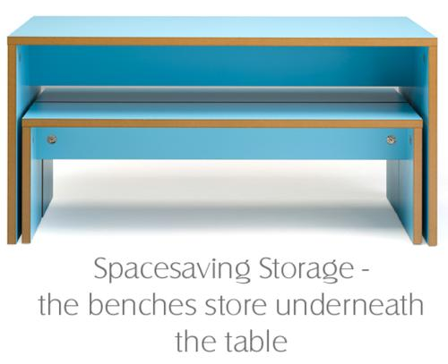 image shows the space saving when the seats are not in use.