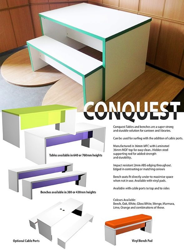 conquest bench system furniture and seating