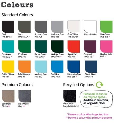 standard bin colours