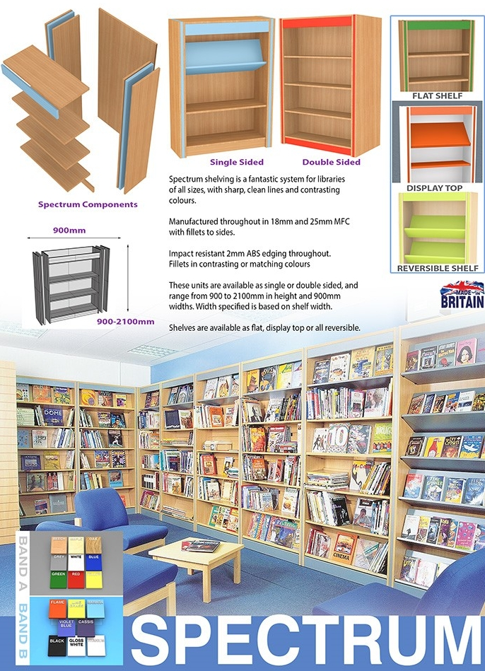 spectrum wooden library shelving system