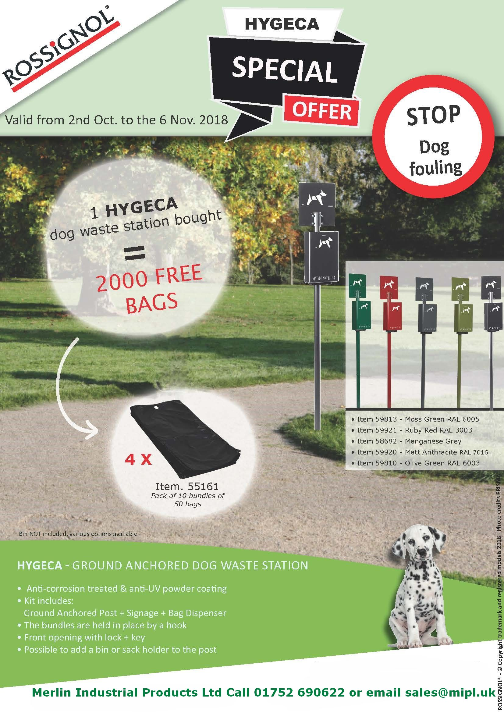 Special offer for a popular dog waste bin on a post ideal for gardens, grounds, beaches and parks in lots of colours and with 2000 free liners!