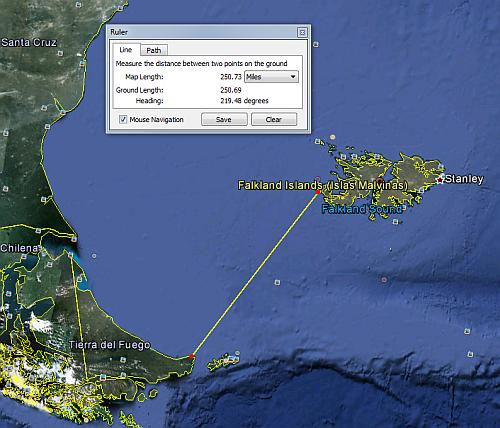 Falklands - distance from Argentina